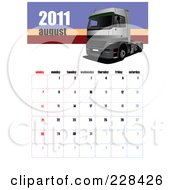Royalty Free RF Clipart Illustration Of An August 2011 Big Rig Calendar