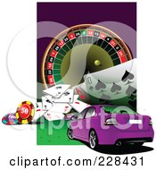 Royalty Free RF Clipart Illustration Of A Purple Car And Casino Background