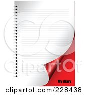 Royalty Free RF Clipart Illustration Of A Turning Blank Diary Page Over Red