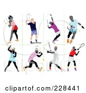 Royalty Free RF Clipart Illustration Of A Digital Collage Of Tennis Players 3