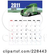 Royalty Free RF Clipart Illustration Of An April 2011 Big Rig Calendar