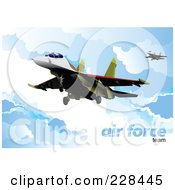 Royalty Free RF Clipart Illustration Of Airforce Jets Above The Clouds 6