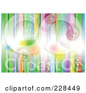 Royalty Free RF Clipart Illustration Of A Background Of Vertical Colorful Stripes And Swirls