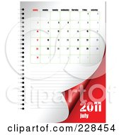 Royalty Free RF Clipart Illustration Of A Turning July 2011 Calendar And Planner Page