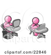Clipart Illustration Of Two Pink Men Employees Working On Computers In An Office One Using A Desktop The Other Using A Laptop