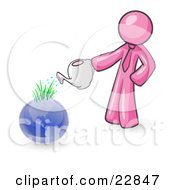Clipart Illustration Of A Pink Man Using A Watering Can To Water New Grass Growing On Planet Earth Symbolizing Someone Caring For The Environment by Leo Blanchette