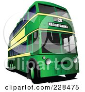 Royalty Free RF Clipart Illustration Of A Green Double Decker Tour Bus