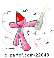 Clipart Illustration Of A Happy Pink Man Partying With A Party Hat Confetti And A Bottle Of Liquor by Leo Blanchette
