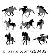 Royalty Free RF Clipart Illustration Of A Digital Collage Of Equestrian Silhouettes 2 by leonid