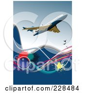 Royalty Free RF Clipart Illustration Of A Commercial Airliner Background 1
