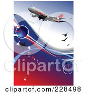 Royalty Free RF Clipart Illustration Of A Commercial Airliner Background 2