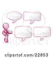 Clipart Illustration Of A Pink Businessman With Four Different Word Bubbles