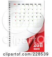 Royalty Free RF Clipart Illustration Of A Turning March 2011 Calendar And Planner Page