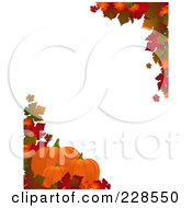 Royalty Free RF Clipart Illustration Of A Vertical Border Of Autumn Leaves And Three Pumpkins Around White Copyspace by elaineitalia