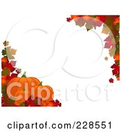 Horizontal Border Of Autumn Leaves And Three Pumpkins Around White Copyspace