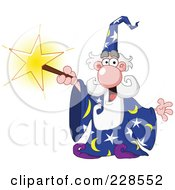 Royalty Free RF Clipart Illustration Of An Old Wizard Using A Magic Star Wand by yayayoyo