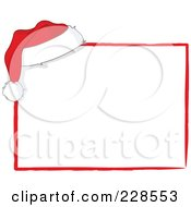 Santa Hat On The Corner Of A White Sign With Red Trim