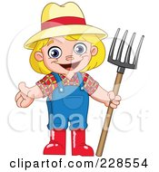 Royalty Free RF Clipart Illustration Of A Happy Blond Girl Farmer Holding A Pitchfork