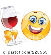 Royalty Free RF Clipart Illustration Of A Happy Emoticon Holding A Glass Of Red Wine