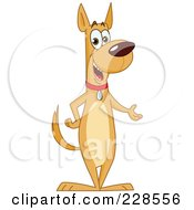Royalty Free RF Clipart Illustration Of A Friendly Dog Standing Upright And Presenting by yayayoyo