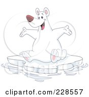Royalty Free RF Clipart Illustration Of A Happy Polar Bear Sitting On An Iceberg And Holding His Arms Out