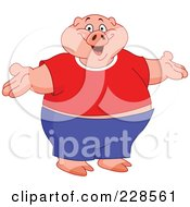 Royalty Free RF Clipart Illustration Of A Fat Pig Wearing Clothes Standing Upright With Open Arms