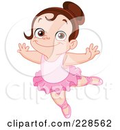 Royalty Free RF Clipart Illustration Of A Happy Brunette Girl Dancing Ballet