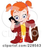 Royalty Free RF Clipart Illustration Of A Red Haired Girl Dressed Up As A Businesswoman And Using A Cell Phone by yayayoyo