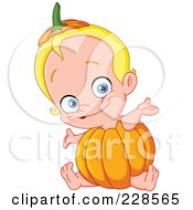 Happy Blond Baby Wearing A Pumpkin And Holding His Arms Out