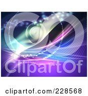 Royalty Free RF Clipart Illustration Of An Abstract Purple And Blue Background With Wire Waves And Sparkles