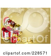 Royalty Free RF Clipart Illustration Of A Gold Christmas Background With Ribbons Snowflakes Baubles A Santa Hat And Gifts