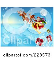 Royalty Free RF Clipart Illustration Of Santa Looking Back And Dropping Christmas Gifts As He Flies In His Sleigh