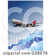 Royalty Free RF Clipart Illustration Of A Commercial Airliner Background 4