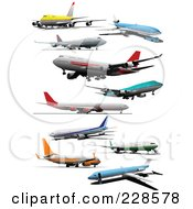 Royalty Free RF Clipart Illustration Of A Digital Collage Of Commercial Airliners 2