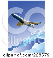 Royalty Free RF Clipart Illustration Of A Commercial Airliner Background 3