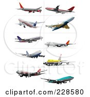 Royalty Free RF Clipart Illustration Of A Digital Collage Of Commercial Airliners 3