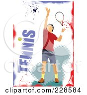 Royalty Free RF Clipart Illustration Of A Tennis Player Background 1