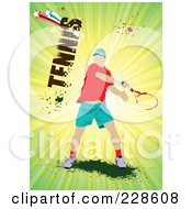 Royalty Free RF Clipart Illustration Of A Tennis Player Background 13