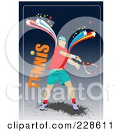 Royalty Free RF Clipart Illustration Of A Tennis Player Background 7
