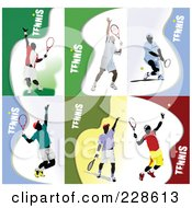 Royalty Free RF Clipart Illustration Of A Digital Collage Of Tennis Players 1