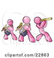 Clipart Illustration Of Three Pink Men Playing Flutes And Drums At A Music Concert by Leo Blanchette