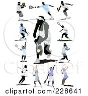 Royalty Free RF Clipart Illustration Of A Digital Collage Of Tennis Players 2