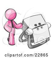 Clipart Illustration Of A Pink Businessman Standing Beside A Rotary Card File With Blank Index Cards by Leo Blanchette