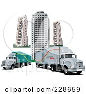 Royalty Free RF Clipart Illustration Of Two Big Rigs By City Buildings