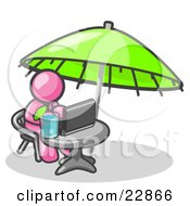Clipart Illustration Of A Traveling Pink Business Man Sitting Under An Umbrella At A Table Using A Laptop Computer by Leo Blanchette
