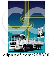 Royalty Free RF Clipart Illustration Of A Big Rig Background 7