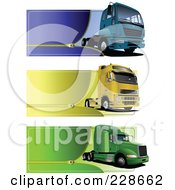 Royalty Free RF Clipart Illustration Of A Digital Collage Of Trucking Zipper Website Headers