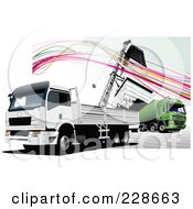Royalty Free RF Clipart Illustration Of A Big Rig Background 8