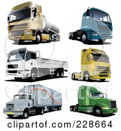 Royalty Free RF Clipart Illustration Of A Digital Collage Of Lorry Trucks 2