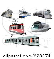 Royalty Free RF Clipart Illustration Of A Digital Collage Of Public Trams by leonid